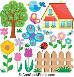 1, temat, ogród, zbiór