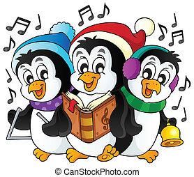 1, temat, pingwiny, boże narodzenie, wizerunek