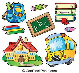 1, zaopatruje, szkoła, zbiór