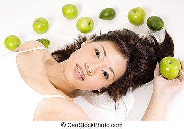 10, dziewczyna, owoc