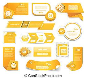 10, komplet, eps, icons., pomarańcza, krok, wektor, postęp, tłumaczenie