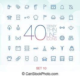 10, komplet, ikony, 40, cienki, modny