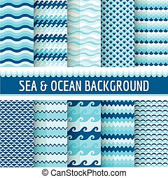 10, morski, seamless, morze, wzory