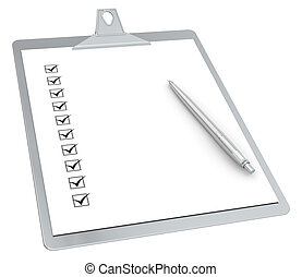 10, pióro, clipboard, x, checklist