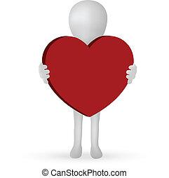 10, serce, -, eps, wektor, dzierżawa wręcza, mały, 3d, człowiek