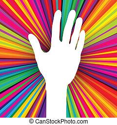 10, sylwetka, barwny, abstrakcyjny, eps, ręka, tło., wektor, psychodeliczny