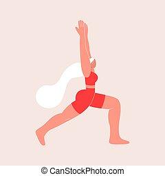 10., wektor, płaski, virabhadrasana., reputacja, pose., eps, młody, wojownik, yoga, kobieta, kursy, ilustracja, style., online, education.