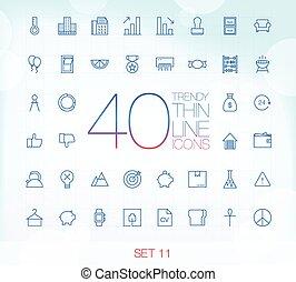 11, komplet, ikony, 40, cienki, modny
