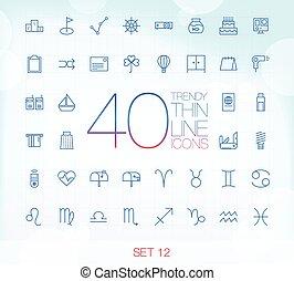 12, ikony, 40, komplet, cienki, modny