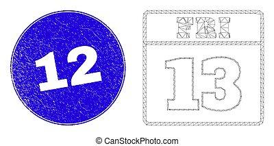 13, piątek, znak, kalendarz, błękitny, sieć, 12, strona, strapienie, ścierwo