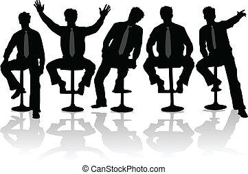2, biznesmen, sylwetka, czarnoskóry