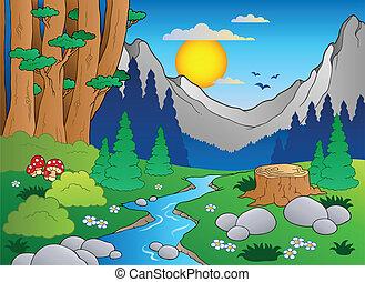 2, rysunek, krajobraz, las