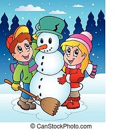 2, scena, zima, dzieciaki
