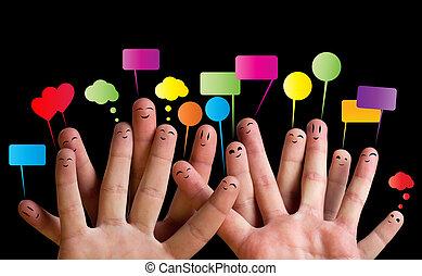 2, smileys, grupa, palec, szczęśliwy