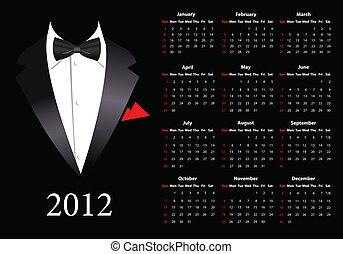 2012, garnitur, amerykanka, kalendarz, wektor, elegancki