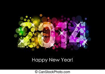 2014, barwny, szczęśliwy, nowy, -, rok
