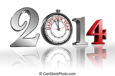 2014, rok, szczęśliwy, zegar, nowy