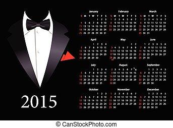 2015, garnitur, amerykanka, kalendarz, wektor, elegancki