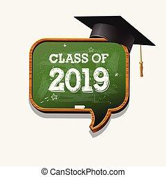 2019, stopniując, grafika, illustration., wektor, klasa, albo, chalkboard, elementy, odznaka, mowa, znak, t-koszule, skala, idea, cap., bańka