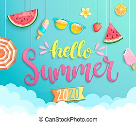 2020, powitanie, chorągiew, wih, gorący, pora, elements., lato