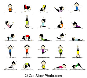 25, kobieta, practicing, yoga, projektować, pozy, twój