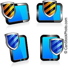 2d, antivirus, tarcza, tabliczka, 3d