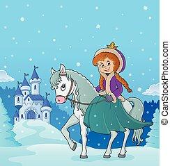 3, jeżdżenie, zima, koń, księżna