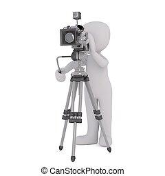 3d, aparat fotograficzny, 41, człowiek