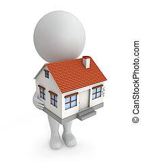 3d, dom, people-, sprzedaż, sprytny