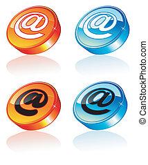 3d, email, ikona