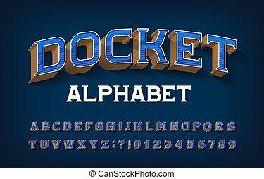 3d, font., etykieta, alfabet, retro, beletrystyka, numbers.