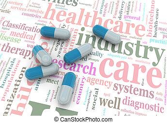 3d, healthcare, pigułki, wordcloud