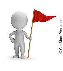 3d, ludzie, czerwony, -, mały, bandera
