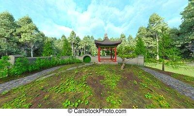 3d, przedstawienie, cg, ogród, chińczyk