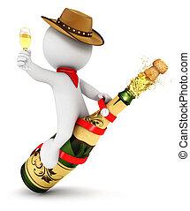 3d, rodeo, szampan, biały, ludzie