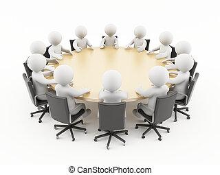 3d, spotkanie, handlowy zaludniają