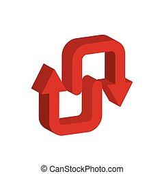 3d, strzały, styl, ikona, do góry, na dół
