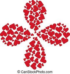 4, kręćcie, garnitur, grając kartę, kwiat, serce, płatki