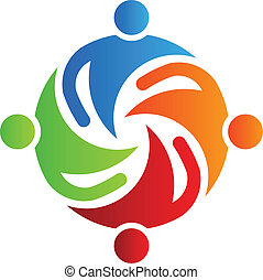 4, razem, logo, drużyna, wektor
