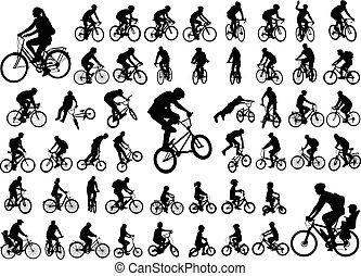 50, zbiór, wysoki, sylwetka, bicyclists, jakość