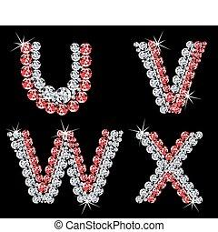 (6), diament, wektor, letters., komplet, alfabetyczny