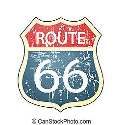 66, roadsign, marszruta, grunge