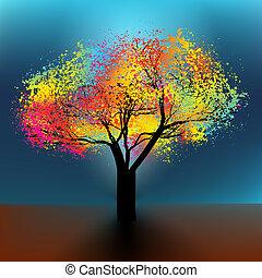 8, abstrakcyjny, drzewo., eps, barwny