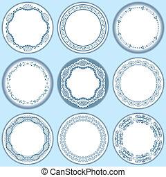 9, kobiecy, etykiety, komplet, błękitny