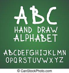 abc, beletrystyka, tablica, alfabet, odręczny, wektor, chalkboard, textured, pociągnięty, szorstki, albo, szczotka