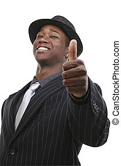 abdykując, kciuki, garnitur, biznesmen, kapelusz