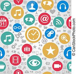 ablegry, eps10, odpoczynek, barwny, ikony, media, zorganizowany, seamless, tło., editing., wektor, rząd, towarzyski, próbka