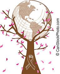 ablegry, przeźroczystość, pojęcie, eps10, odpoczynek, rak, drzewo, współpraca, globalny, zorganizowany, symbol., ilustracja, editing., wektor, świadomość, rząd, liście, wstążka, pierś