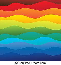 ablegry, tęcza, barwny, &, to, wibrujący, abstrakcyjny, zawiera, -, widmo, ilustracja, ocean polewają, kolor, wektor, gładki, tło, fale, (backdrop), graphic.