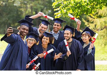 absolwenci, studenci, albo, wpływy, dyplomy, selfie